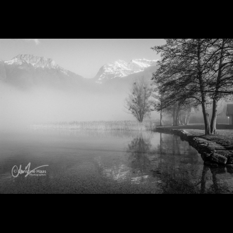 Lake Annecy in the fog, photo taken in winter by Christine Haas