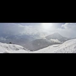 Panoramic photo of a winter landscape in Savoie by Christine Haas