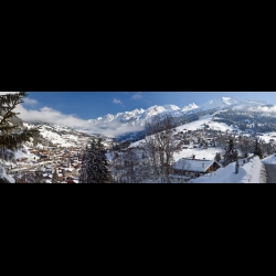 Panoramic photo of La Clusaz in winter, French Alps, by Christine Haas