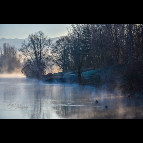 Winter morning at the lake of St Pierre d'Albigny (French Alps) by Christine Haas